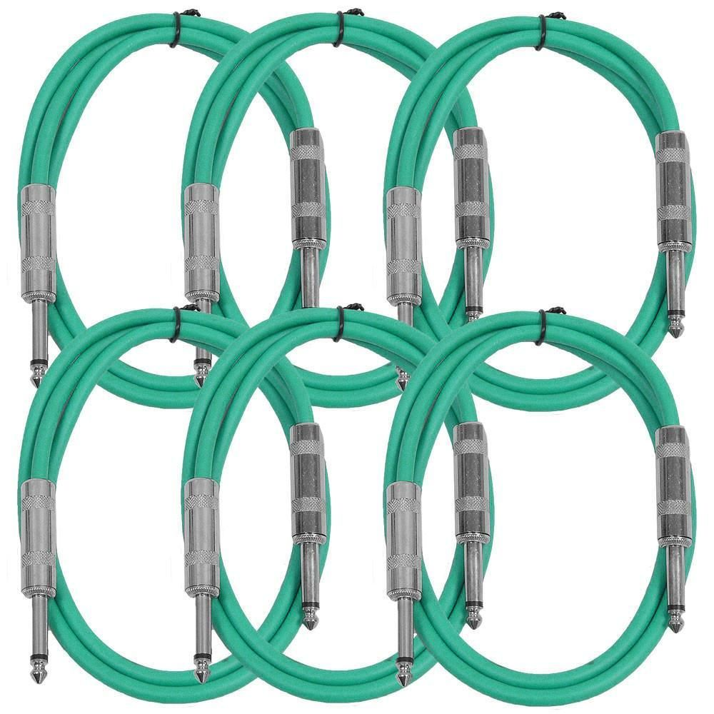 Sastsx 3 6 Pack Of Green 3 Foot Ts Patch Cable Shielded Cable Patches Instruments