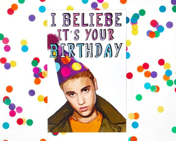 Justin Bieber Birthday Card Funny Birthday Card Sorry Kanye West