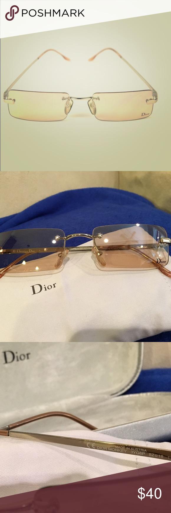 3ef90b9ea66f Christian Dior authentic Monkey 3YG6P sunglasses Christian Dior authentic  Monkey 3YG6P sunglasses. Made in Austria. Rimless peach lenses.