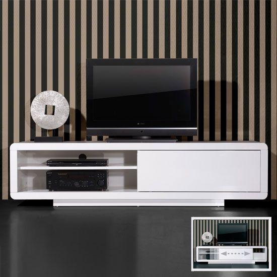 Tv Plasma Kast.Genesis High Gloss Plasma Tv Stand In White With Sliding Door