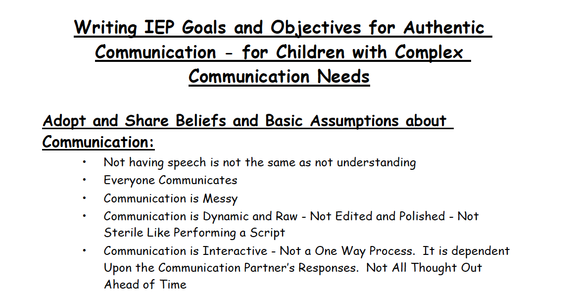 Writing Iep Goals And Objectives For Authentic Communication For Children With Complex Communication Needs By Linda Burkhar Iep Goals Iep Speech And Language