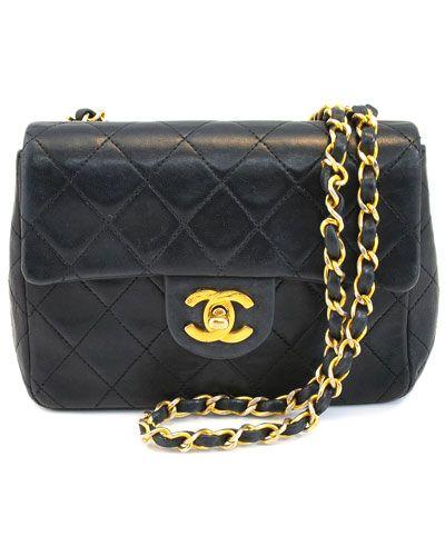 Chanel Black Lambskin Leather 'Mini Flap' Shoulder Bag