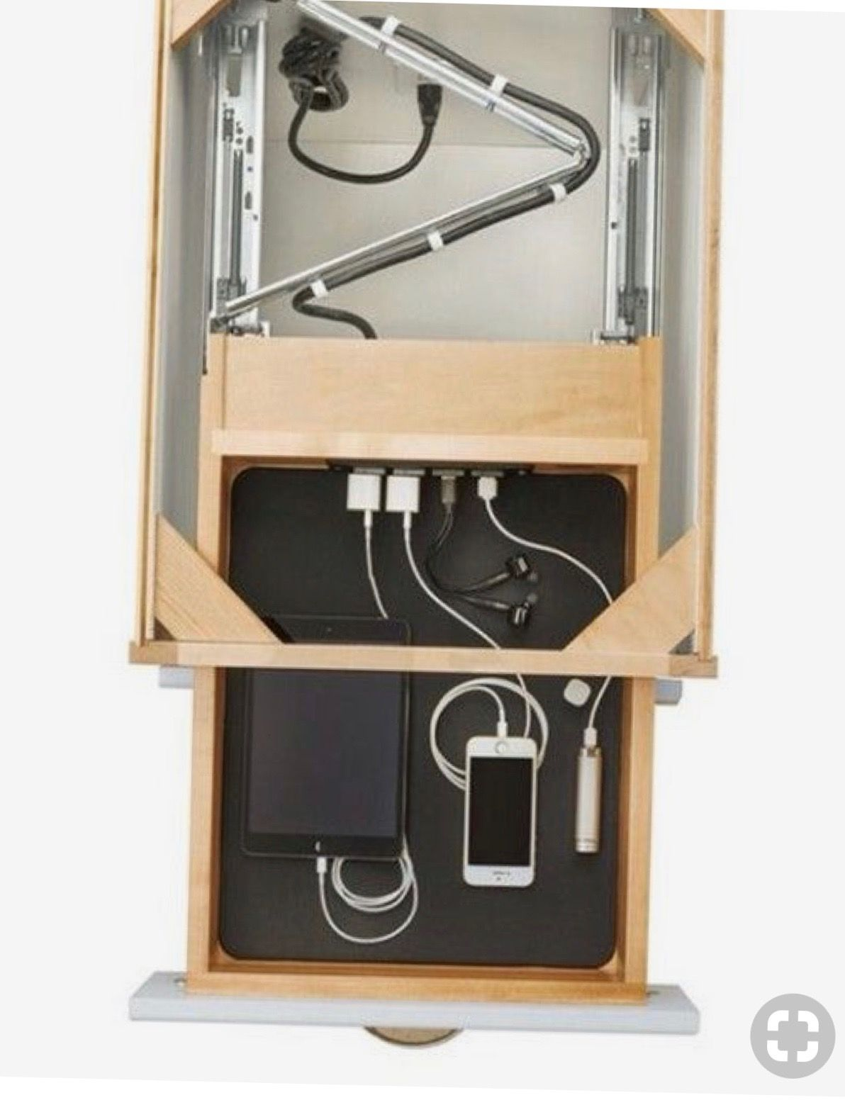 Tech drawer cutaway to expose cable touting mechanism