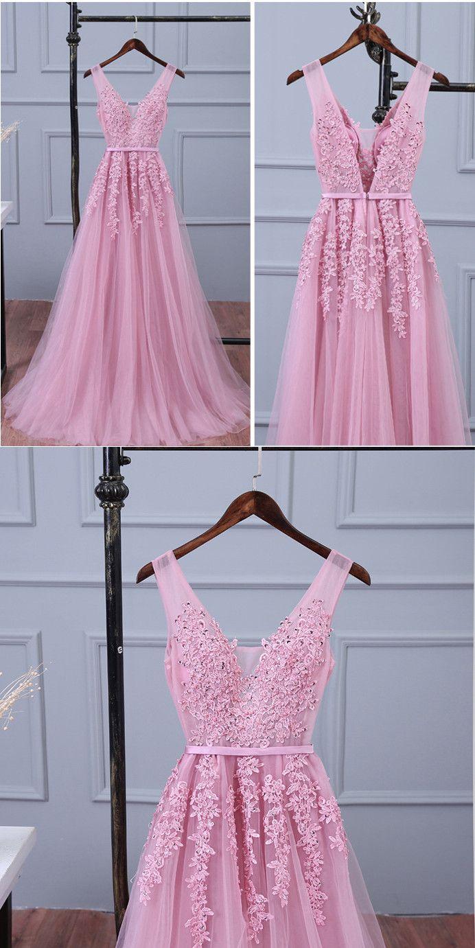 Lace appliqued tulle long prom dressespeach long bridesmaid dresses