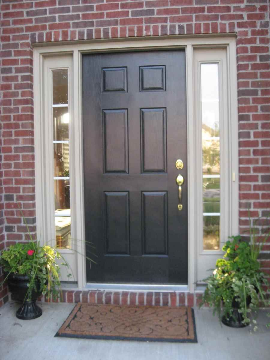 furniture design, luxurious dark wooden front door color combined