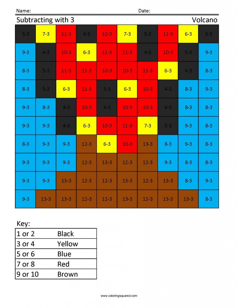 Jr Subtraction Coloring Squared Subtraction Free Printable Worksheets Math For Kids [ 1024 x 791 Pixel ]