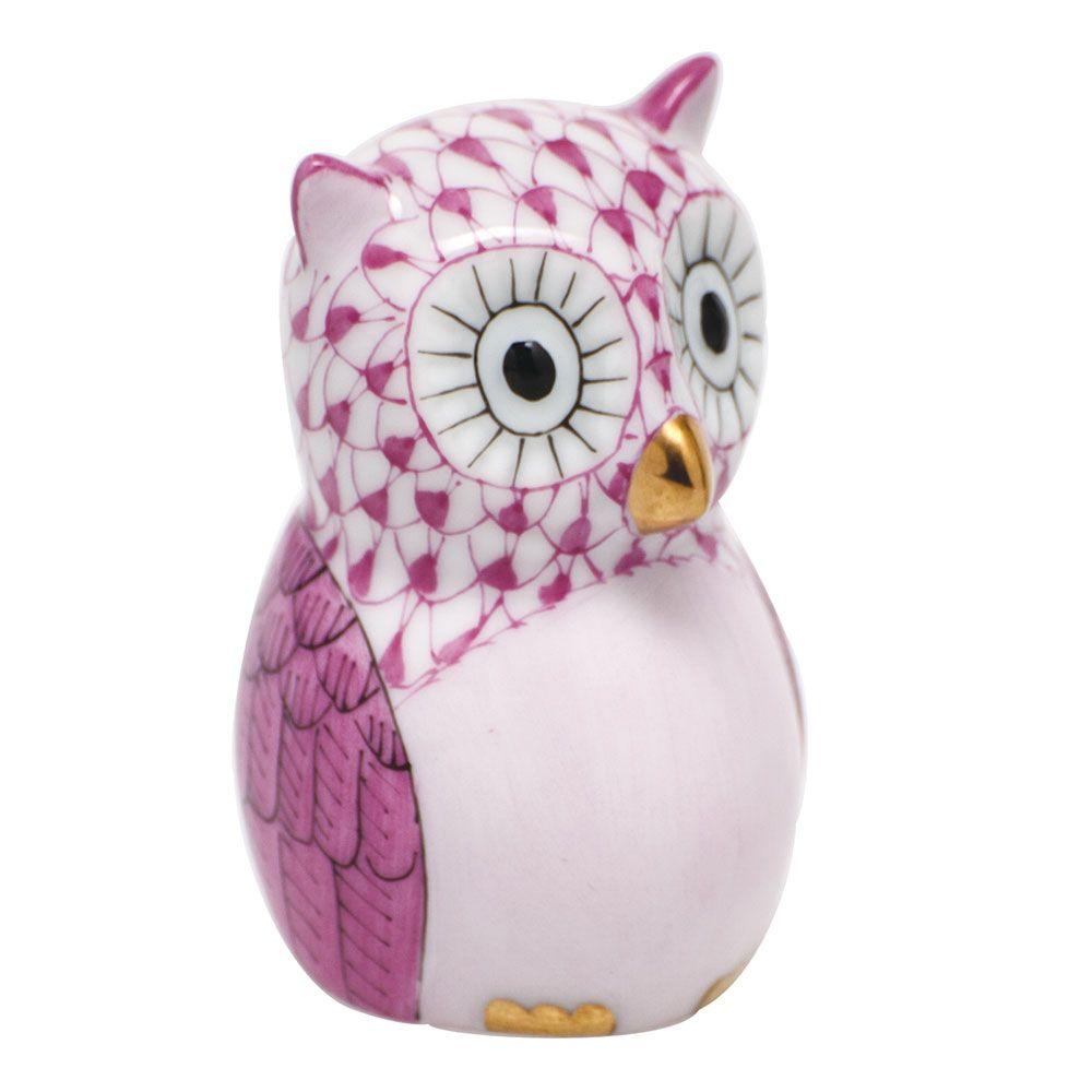 "Herend Kangaroo Hand Painted Porcelain Figurine In Pink: Herend Hand Painted Porcelain Figurine ""The Professor"" Owl"