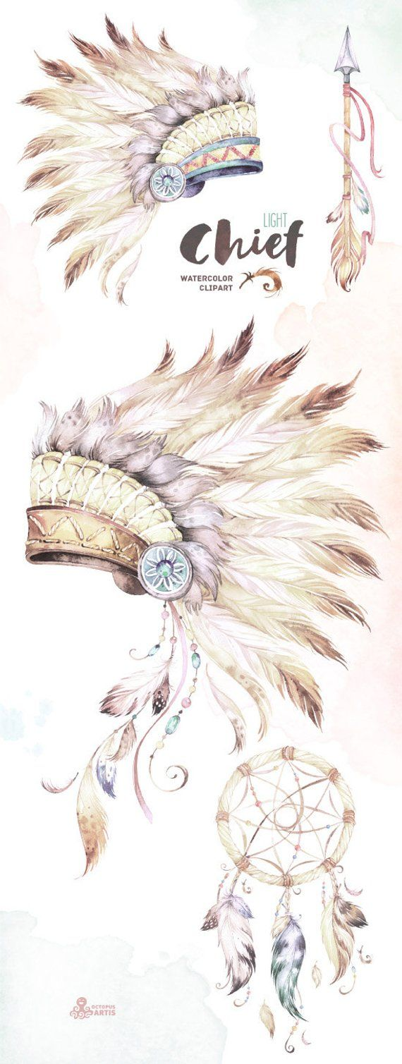 chief light native warbonnets dreamcatcher and arrow watercolor clip art tribal headdress feat [ 570 x 1509 Pixel ]