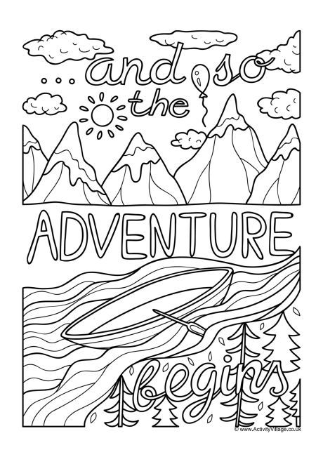 And So The Adventure Begins A Colouring Page For Adults And Older Kids Colouring Pages Quote Coloring Pages Mindfulness Colouring
