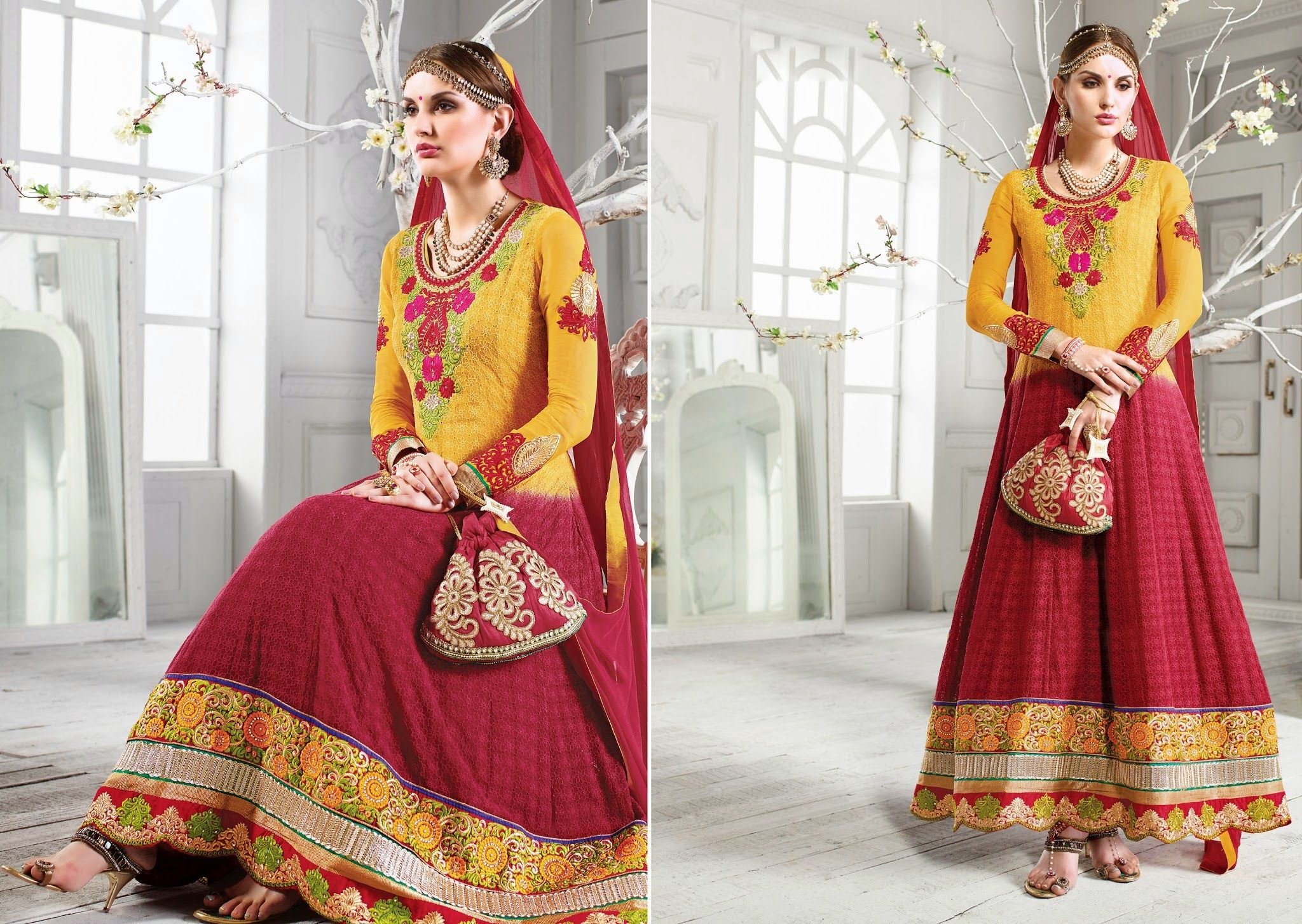 Amazing Long Pink Georgette With Stone Work And Lace Border  #craftshopsindia #salwarsuit