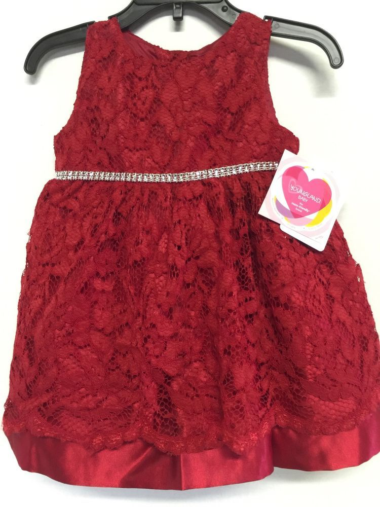 Youngland Infant /& Toddler Girls Sparkly Red Holiday Christmas Party Dress