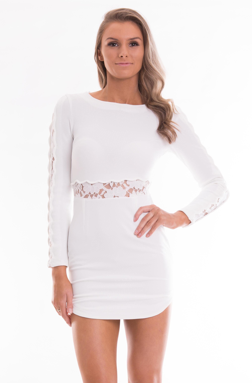 White Long Sleeve Lace Mesh Bodycon Dress White Tight Dresses Bodycon Dress White Long Sleeve Dress [ 3041 x 2000 Pixel ]