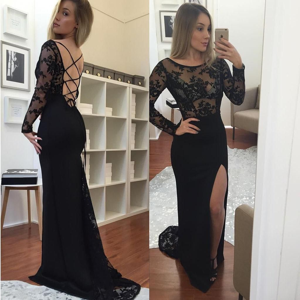 Black long prom dresses mermaid long sleeves open back lace