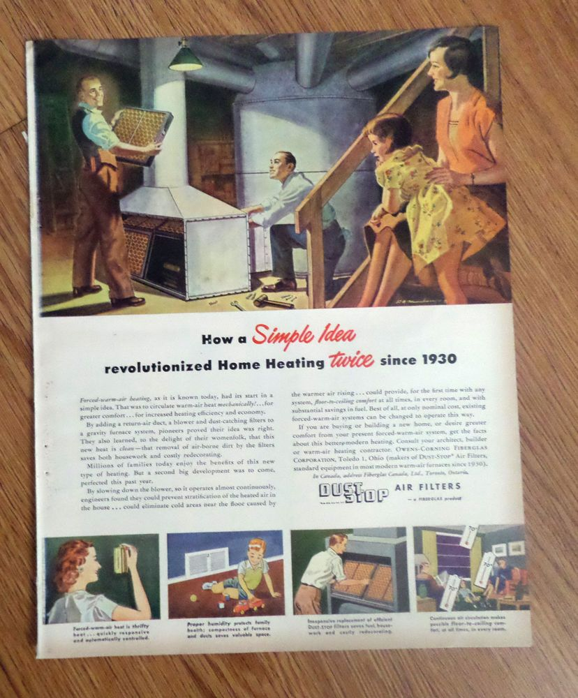 1949 Dust Stop Air Filters Furnace Ad Forced Warm Air