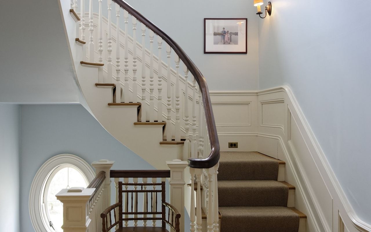 light blue walls cream white trim dark wood bannister on good wall colors for office id=46381