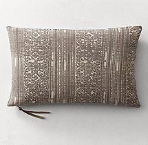 Batik Mud-Resist Stripe Pillow Cover - Lumbar