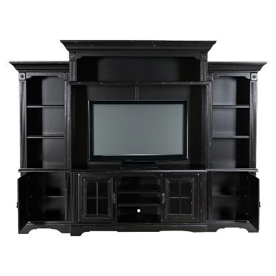 Delicieux 5 Piece Distressed Black Entertainment Center
