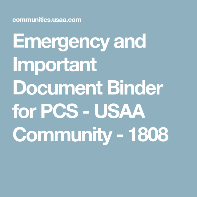 Emergency And Important Document Binder For PCS