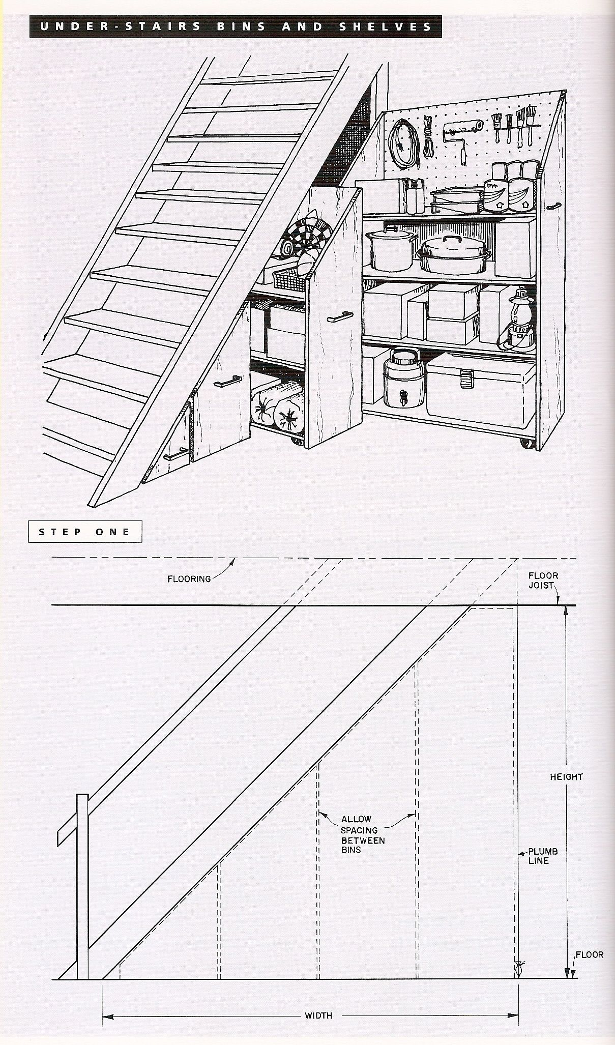 Pull out storage under stairs basement ideas pinterest for Draw plans free