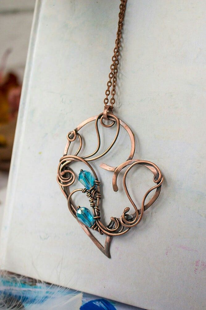 Wire wrapped necklace for women Wire wrap artisan jewelry Heart ...