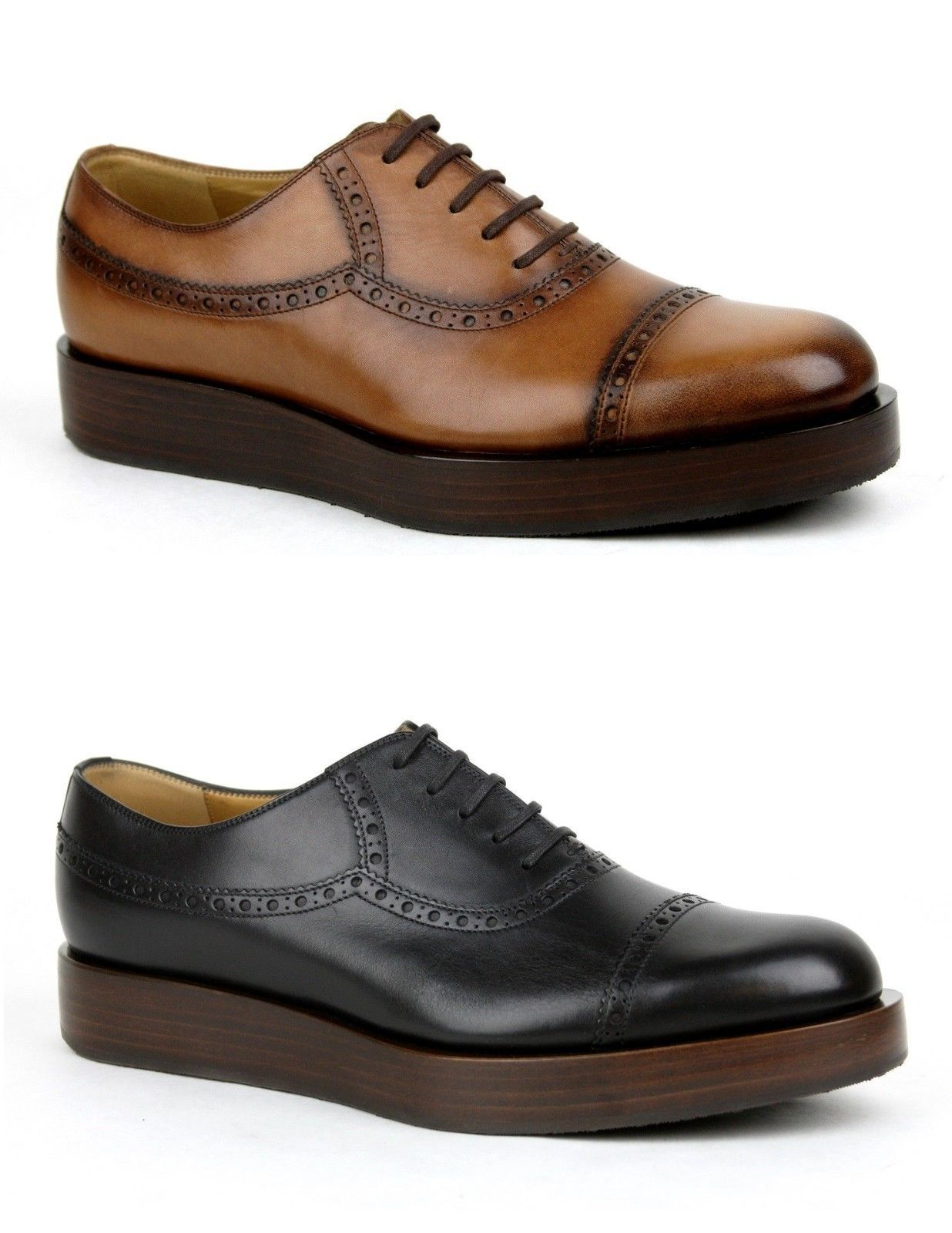 266e32f4fbb3 Details about  840 New Gucci Mens Leather Platform Lace-up Oxford ...