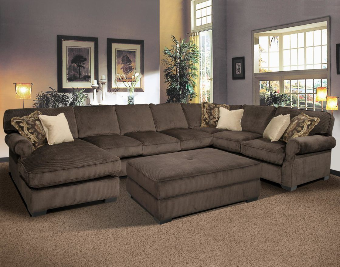 Casual Formal Living Room Decorating Ideas Charming Dark Grey Velvet Oversized U Shaped Sectional Sofa With Ch Home Sectional Sofa With Chaise Home Furnishings