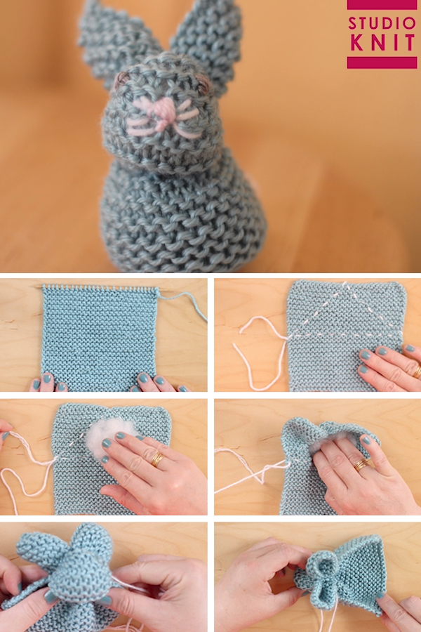 How to Knit a Bunny from a Square with Video Tutorial #knittingideas