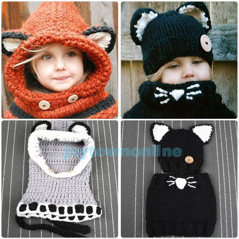 0f54119fa9d  11.81 AUD - Ski Winter Fox Beanie Baby Kids Warm Hat Hooded Scarf Earflap  Knitted Wool Cap  ebay  Home   Garden