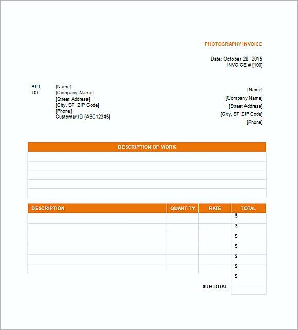 Photography Invoice Templates  Photography Invoice Template