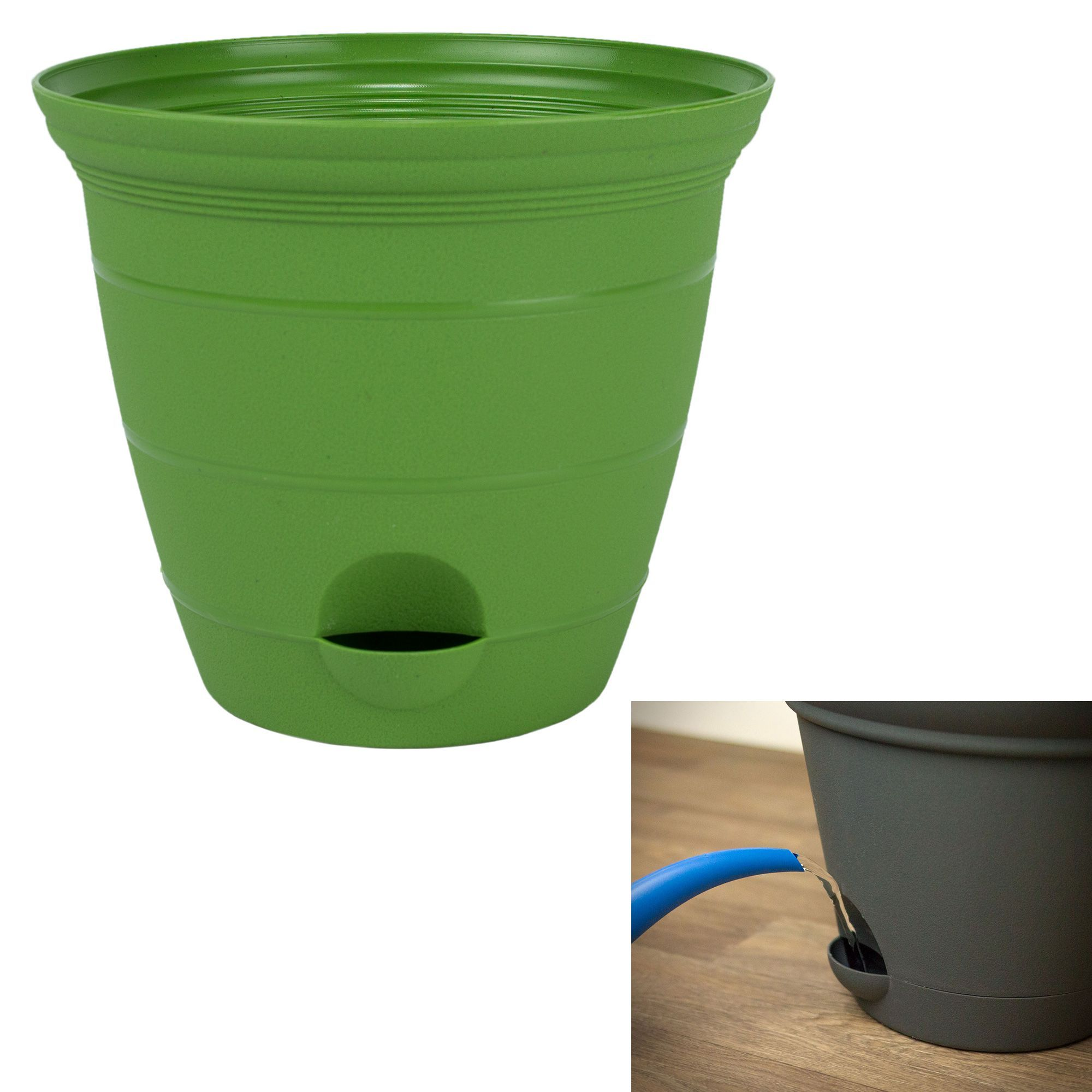 Misco 12 Inch Plastic Self Watering Terra Flower Plant Pot Garden Potted Planter Green Planting Flowers Garden Pots Water Flowers