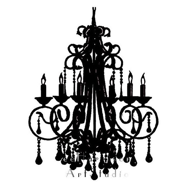 Modern Art Print Chandelier Silhouette Black And White Minimalist French Country