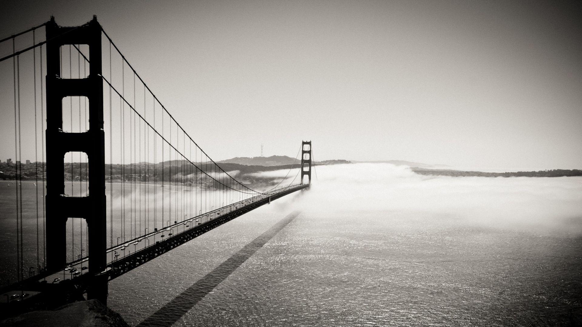 San Francisco Golden Gate Bridge Paisagens Preto E Branco