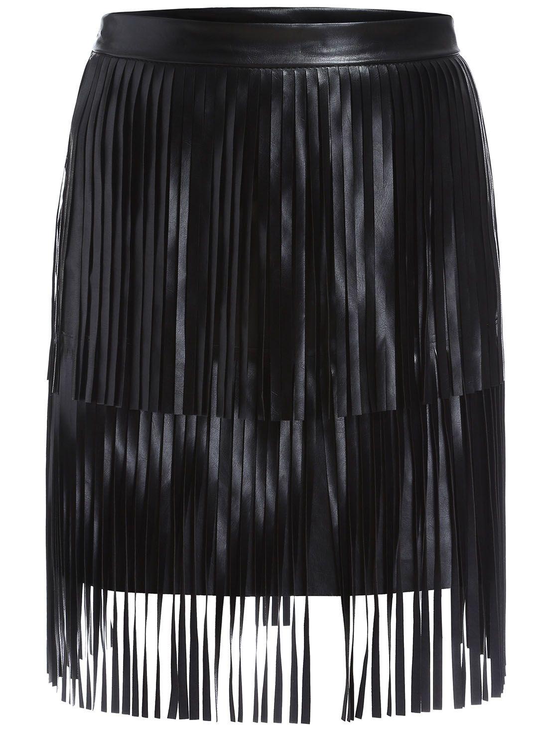 31aa07e0bd Black Tassel Bodycon PU Skirt -SheIn(Sheinside) | Shopping list ...