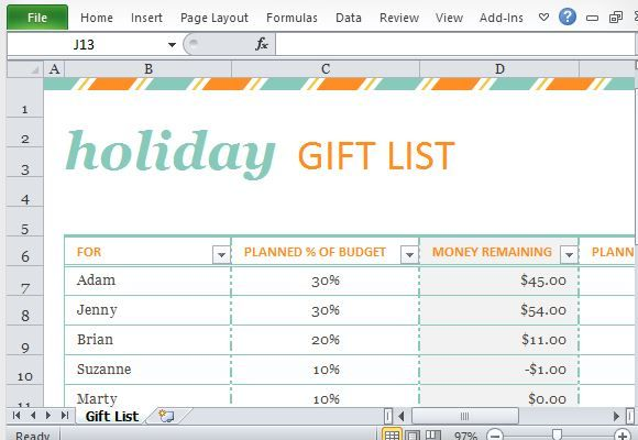 Gift List Template For Microsoft Excel Budget Template Free Budget Template Free Budget