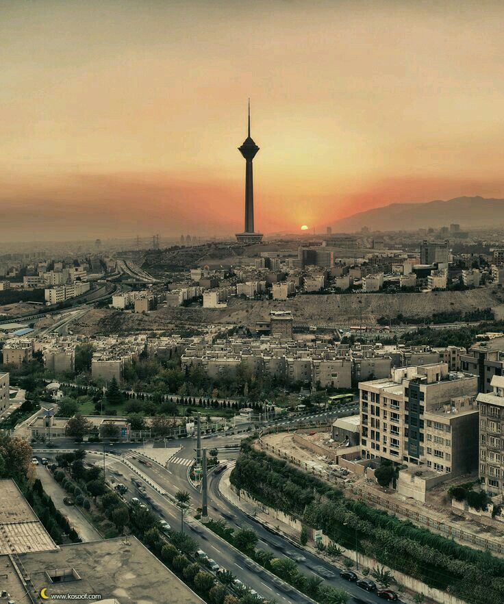 Tehran,milad tower in sunset