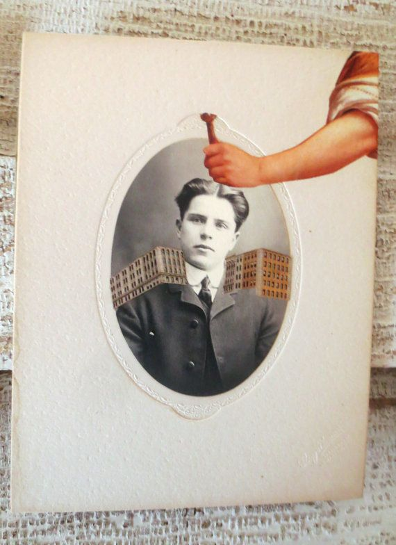 original paper collage on antique cabinet card by Kathleen Sawyer for thebackoftheboat on Etsy.