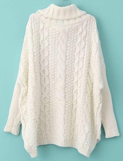 Jersey punto trenza cuello alto manga larga-Blanco-Spanish SheIn(Sheinside) a56ba956f527