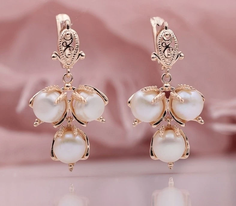 Vintage Freshwater Pearl Rose Gold Bridal Earrings – Vivid Delight Jewelry