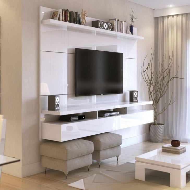 Pain l para tv city 1 8 branco gloss decora o for Sala de estar off white