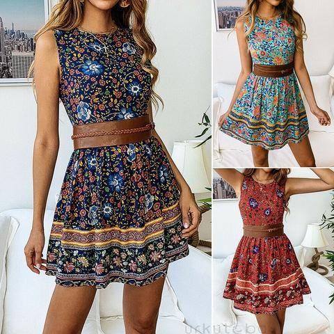 Women Sleeveless Boho Floral Short Sundress RI – deevybuy #shortsundress