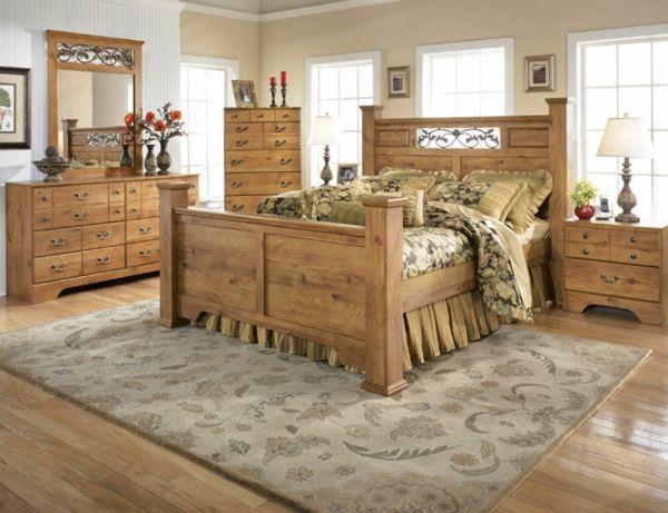 schlafzimmer-im-landhaussil-holz- teppich - Die Wohnung im - schlafzimmer ideen landhaus