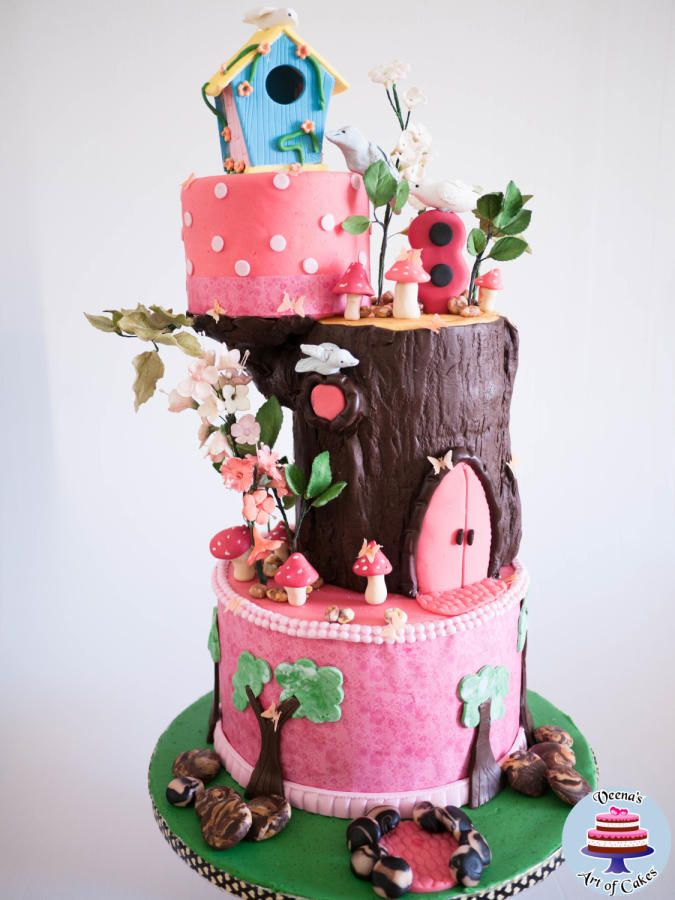 Birdhouse Enchanted Forest Cake by Veenas Art of Cakes