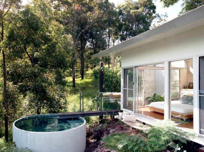 Pool Kleinen Garten Rund Beton Rohr Steg Schlafzimmer