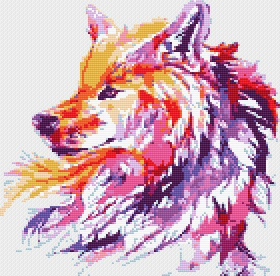 Photo of Fox Cross Stitch PDF Pattern Wild Animals Embroidery Wolf Printable Counted Chart Watercolor Rainbow Birthday DIY Gift Baby Nursery Funny