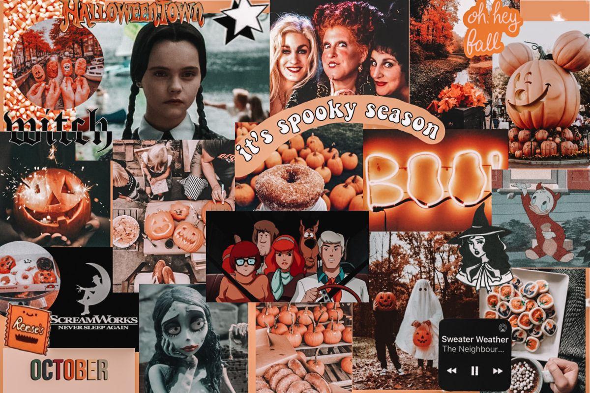 Halloween Computer Screen Collage In 2020 Laptop Wallpaper Laptop Wallpaper Desktop Wallpapers Cute Laptop Wallpaper