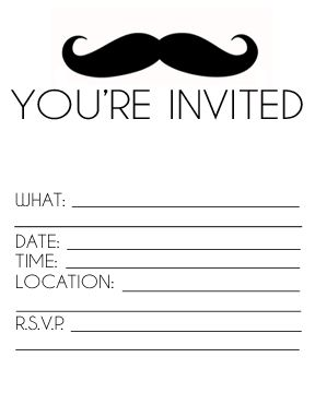 Free Printable Mustache Invitation