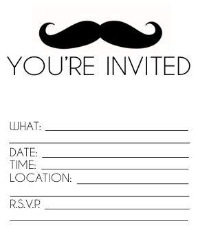 free printable mustache invitation