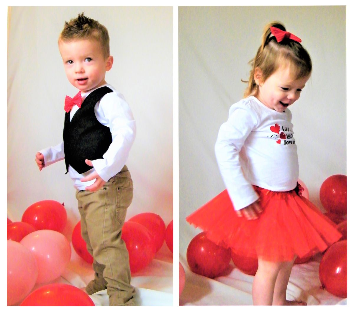 Boy and girl twin Valentines outfits for photoshoots. Black vest