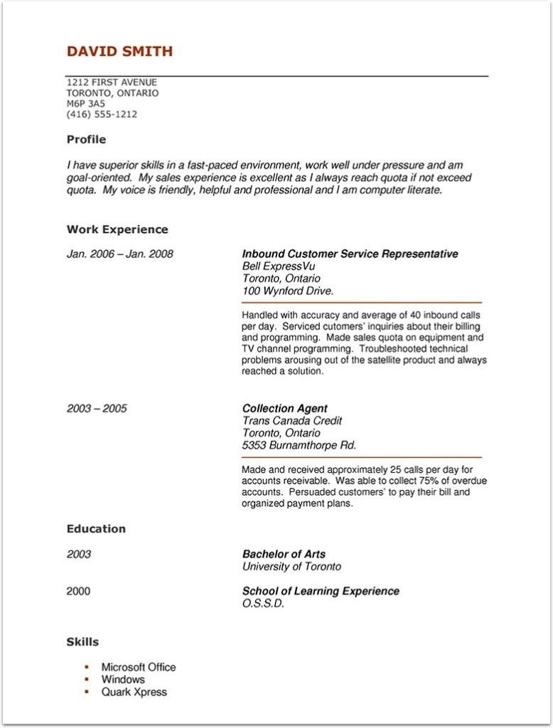 resume resources canada cosy chronological human assistant samples ...