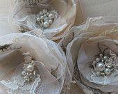 Bridal hair flowers Wedding hairpiece fascinator vintage Brooch/hair clipset 3 champagne Ivory cream beige rhinestone pearl Lace bridesmaid. $55.00, via Etsy.